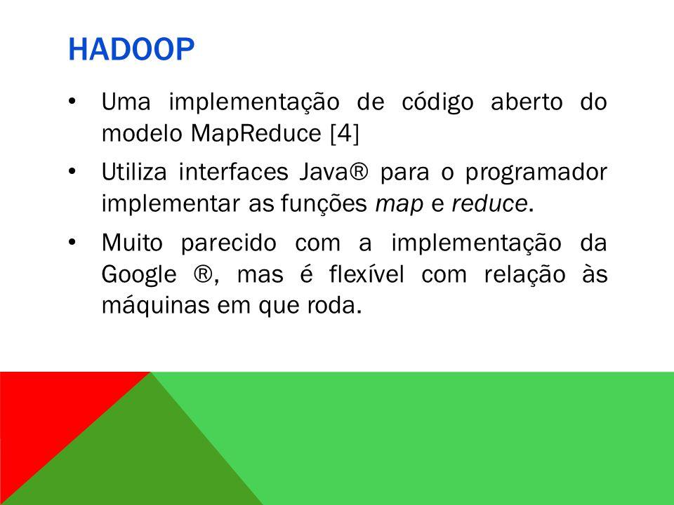 Hadoop Uma implementação de código aberto do modelo MapReduce [4]